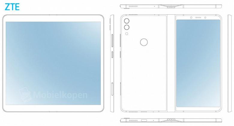Патентные изображения демонстрируют дизайна складного смартфона ZTE – он очень похож на аналогичный смартфон Samsung