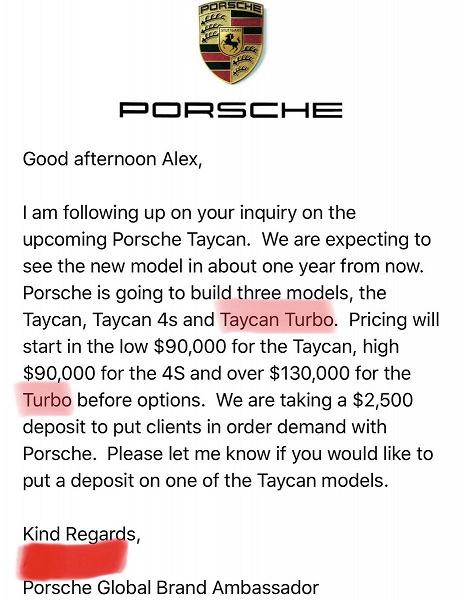 Электромобиль Porsche Taycan Turbo в базовом оснащении будет стоить не меньше 130 000 долларов