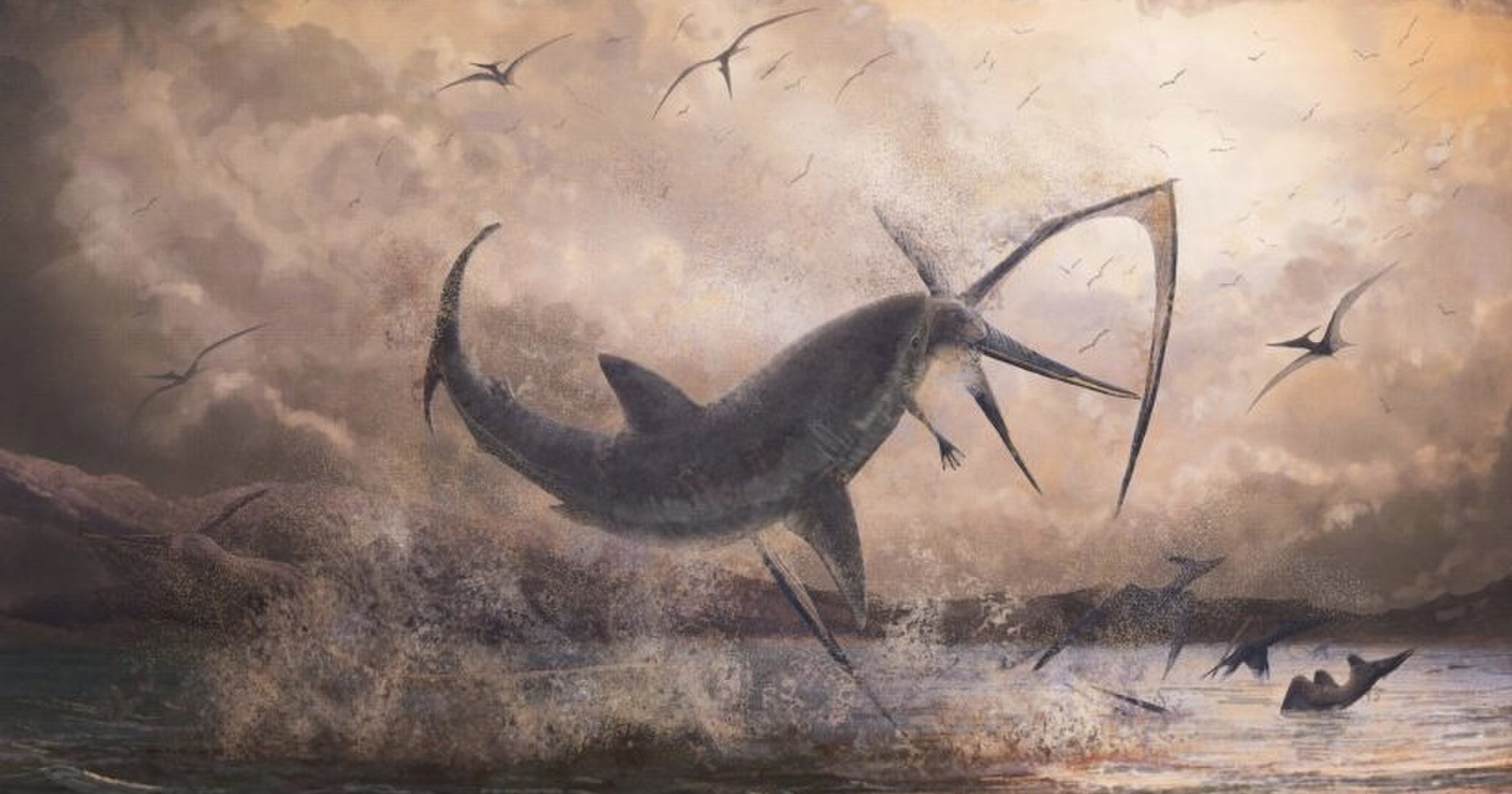 Застрявший в скелете птерозавра акулий зуб рассказал о древней схватке