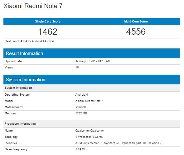 Xiaomi Redmi Note 7 на платформе Snapdragon 660 засветился в бенчмарке Geekbench и на новом постере