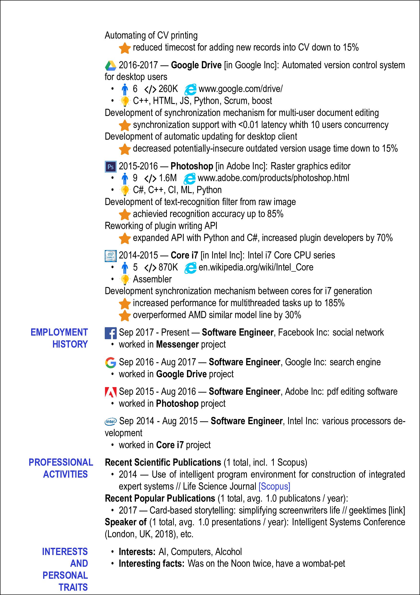 Упрощаем написание резюме разработчика - 7