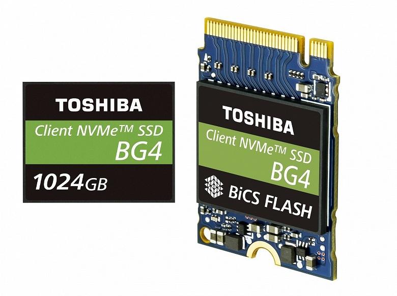 1 ТБ флэш-памяти и контроллер накопителя Toshiba BG4 с интерфейсом PCIe Gen3 x4 интегрированы в одной микросхеме