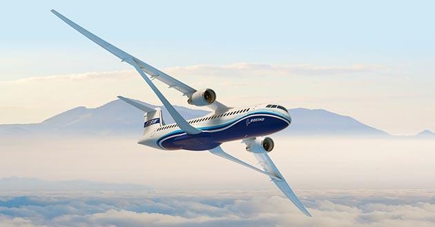 Компания Boeing представила обновленный концепт реактивного самолета с ультратонким крылом