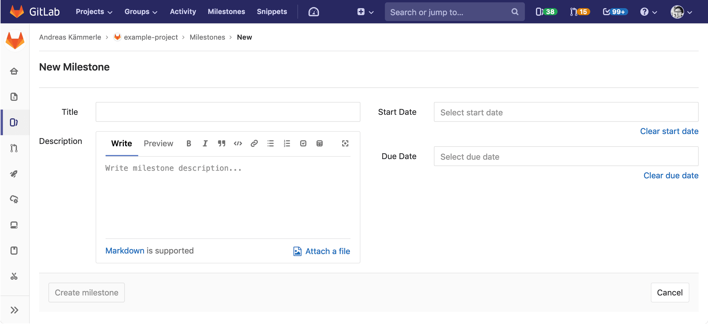 Breadcrumb navigation shows 'New' and 'Edit' for milestones and labels