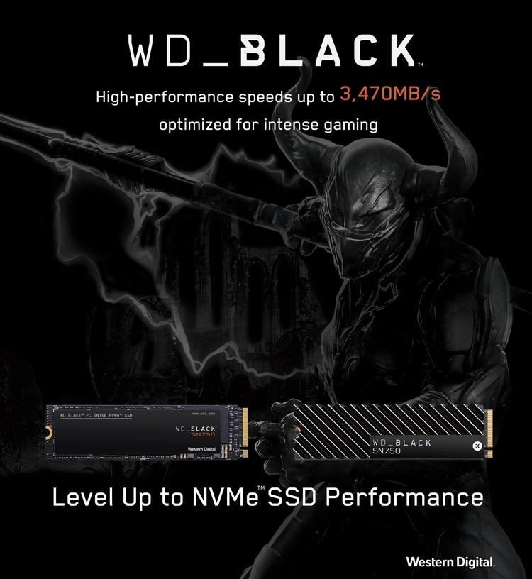 WD Black SN750 NVMe SSD: быстрые накопители ёмкостью до 2 Тбайт для игровых ПК