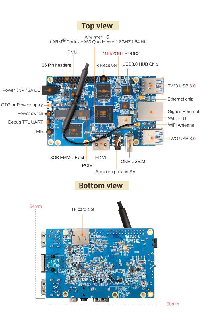 Вышел Orange Pi 3 — полноценный мини-пк за 30$ на Linux - 2