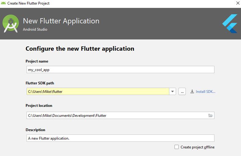 Выбор названия проекта Flutter в Android Studio