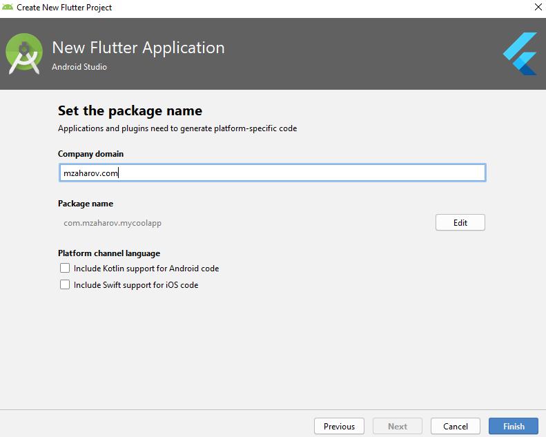 Завершение создания проекта Flutter в Android Studio