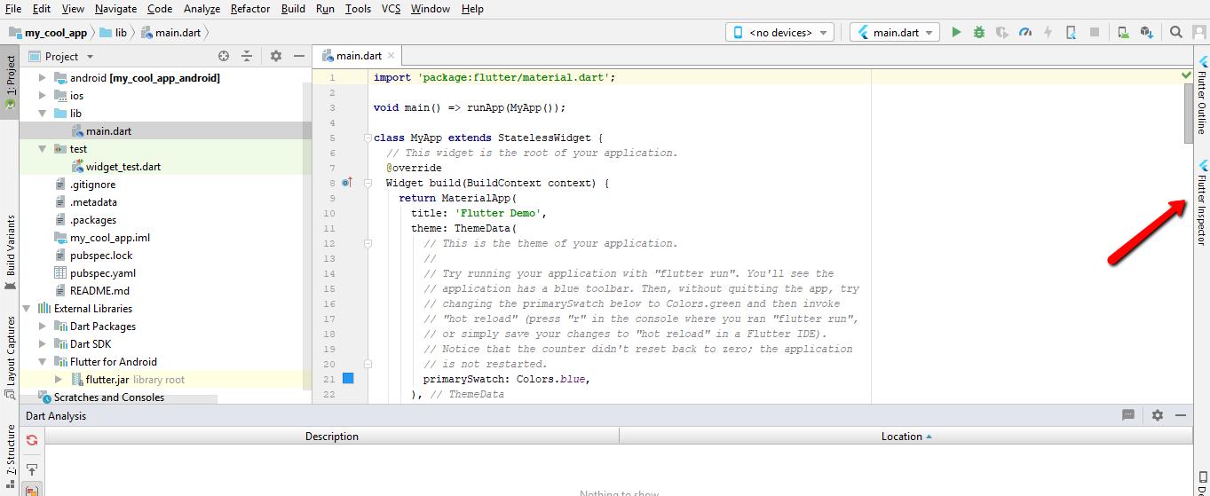Созданный проекта Flutter в Android Studio