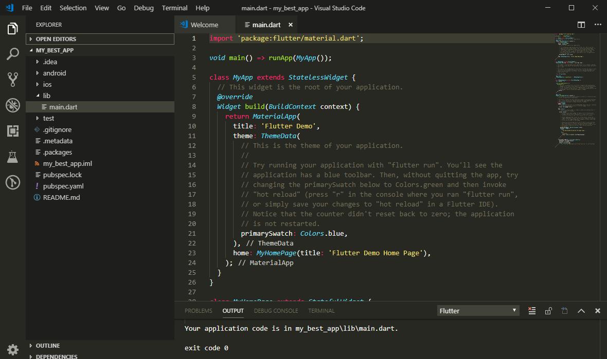 Готовый проект Flutter в VS Code
