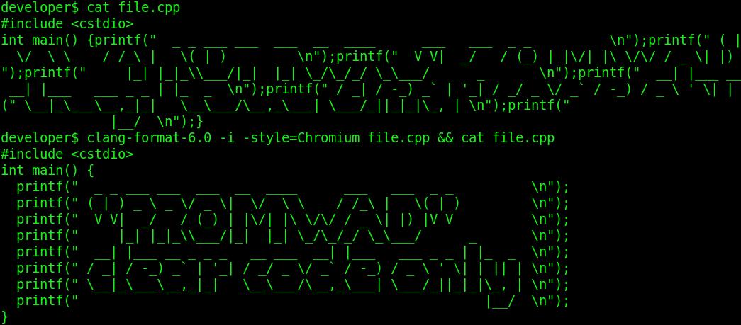 Форматирование исходного кода в Linux средствами ClangFormat: проблемы и решение - 1