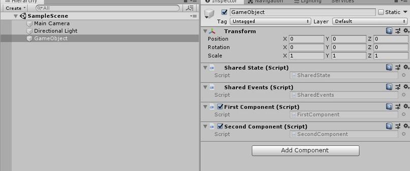 Управление состоянием и событиями между компонентами в GameObject - 31