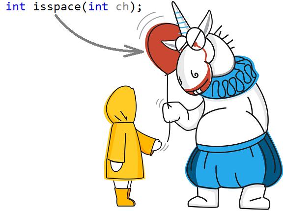 Рисунок 2. Единорог дарит читателям ложное представление о том, что такое isspace.