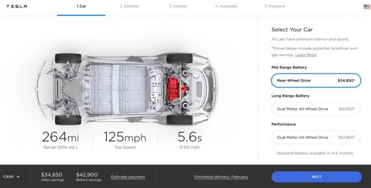 Tesla снизила цену на все версии электромобиля Model 3
