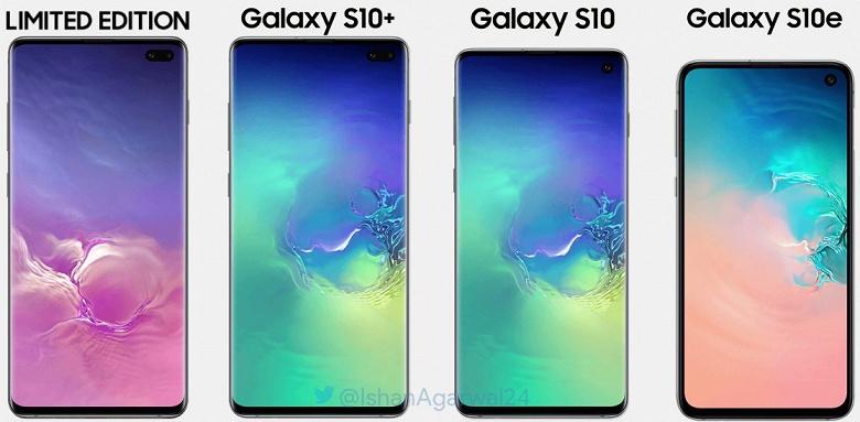 Семейное фото: флагманские смартфоны Samsung Galaxy S10+, S10 и S10e сравнили по размеру
