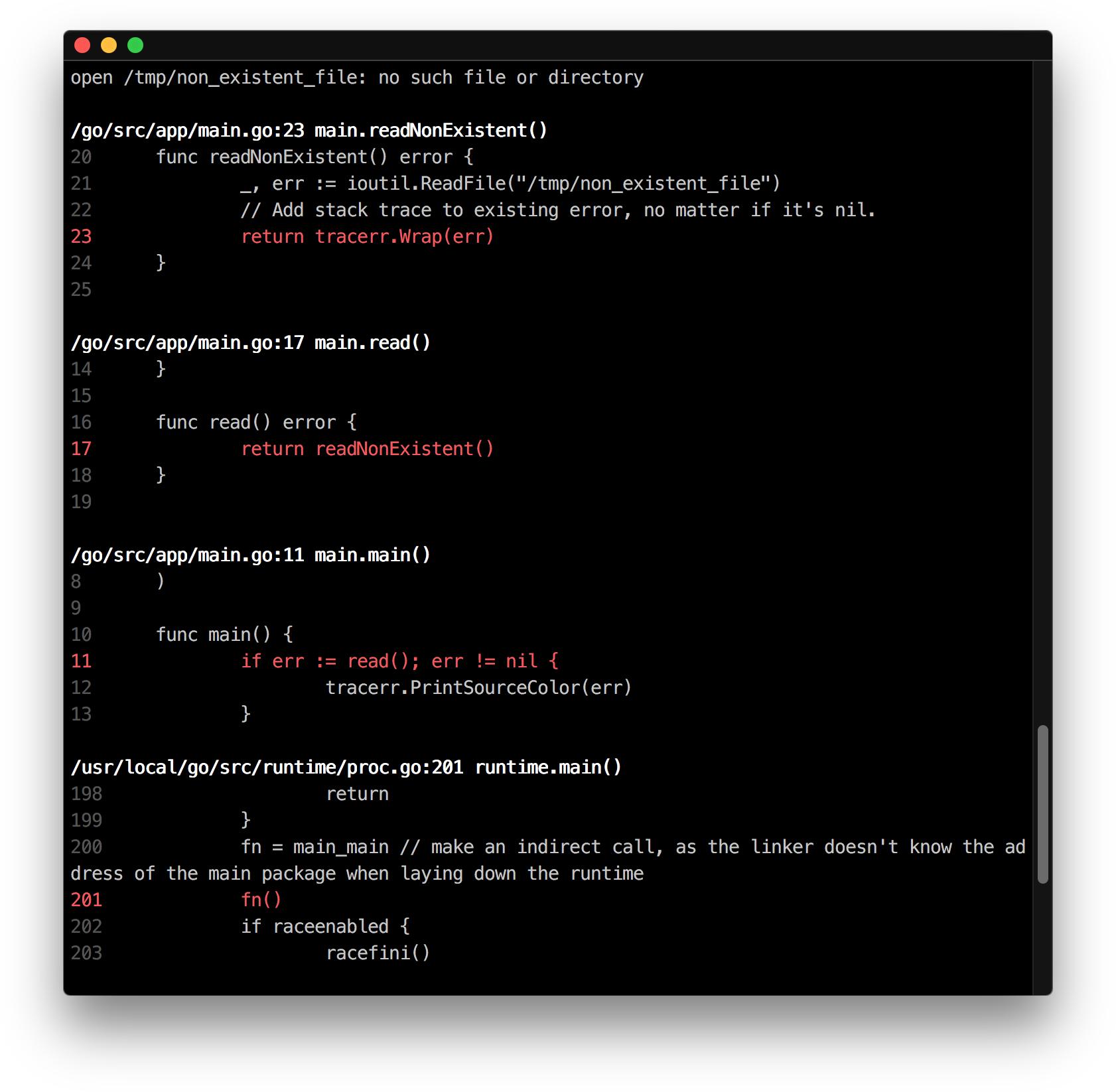 golang error output