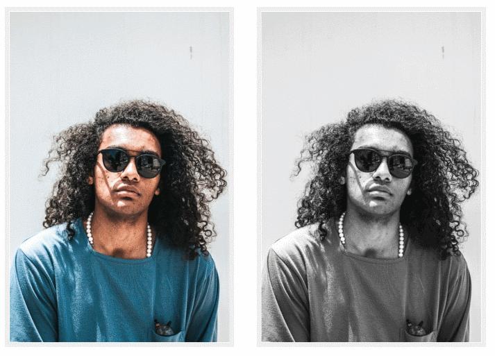 Результат (справа) преобразования изображения слева в оттенки серого с помощью операции фильтра feColorMatrix