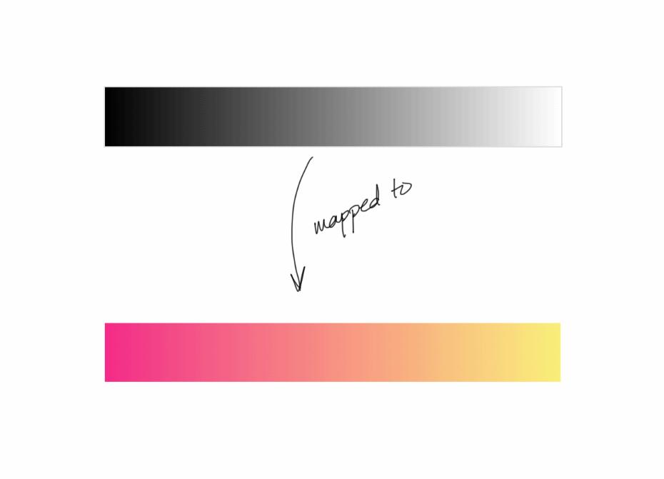Отображение двухтональной карты двуцветному градиенту