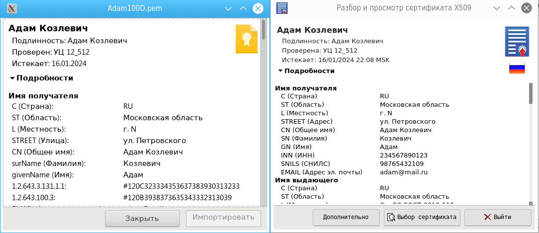 Англоязычная кроссплатформенная утилита для просмотра российских квалифицированных сертификатов x509 - 9