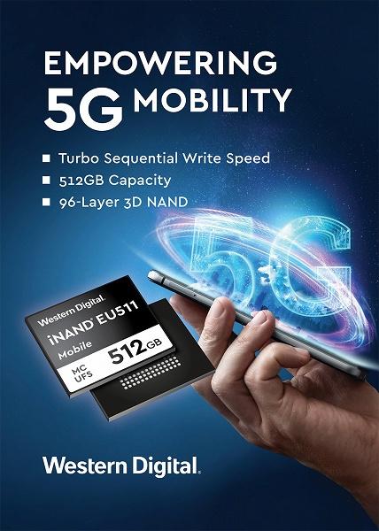 Встраиваемый твердотельный накопитель Western Digital iNAND MC EU511 соответствует спецификации UFS 3.0