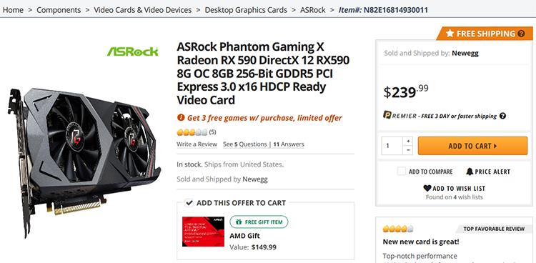 AMD снизит цены на ускорители Radeon RX 590 и RX 580