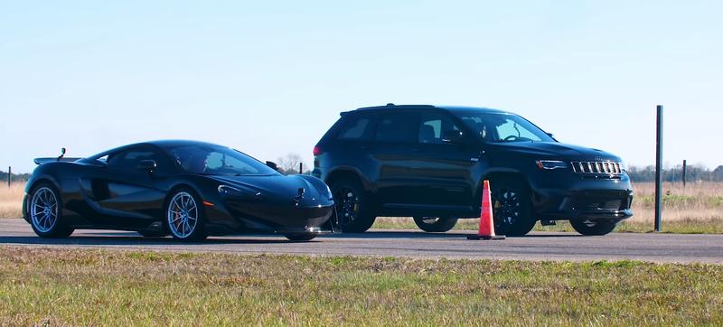 1000-сильный Jeep Trackhawk выставили против McLaren 600LT