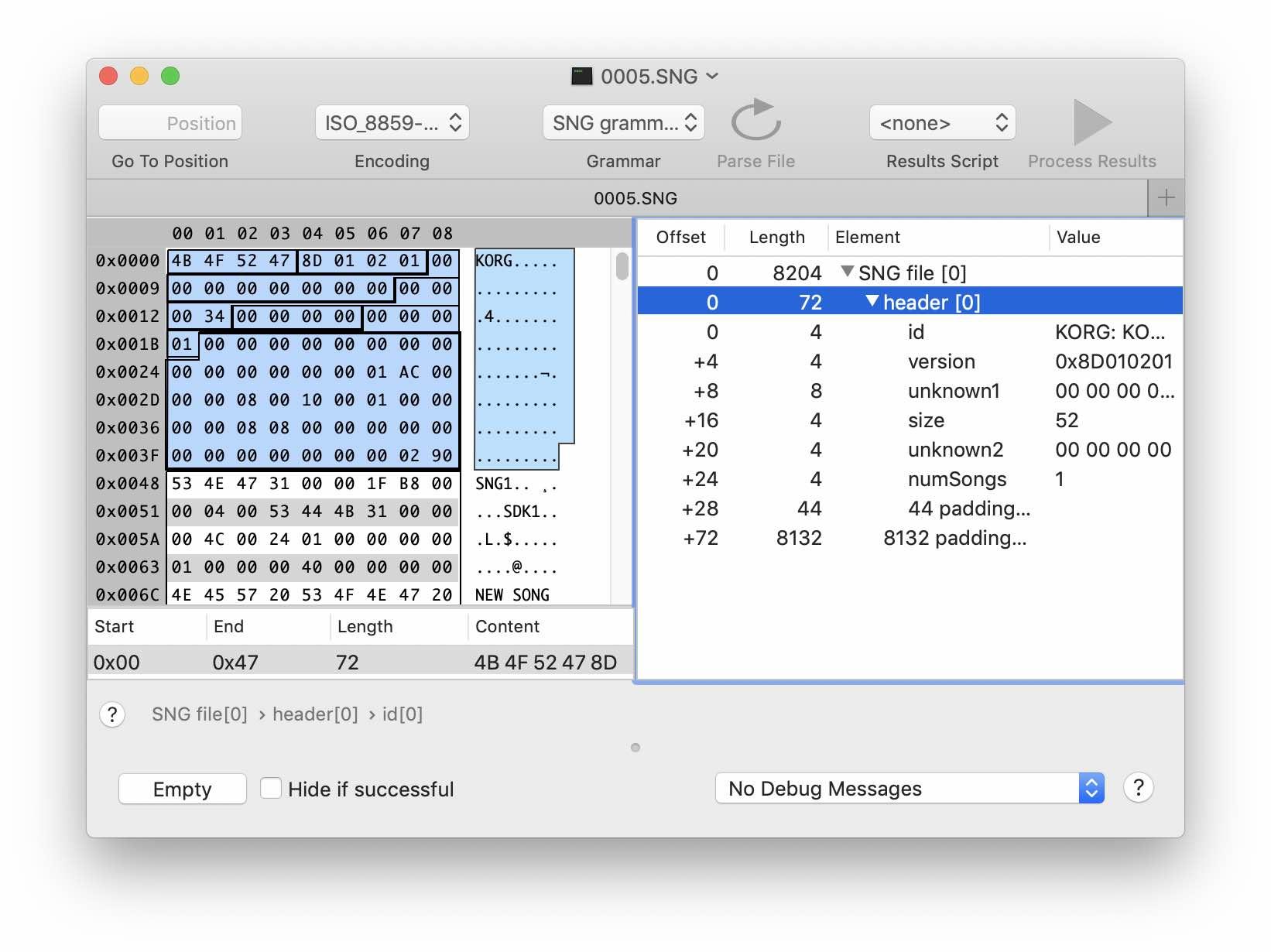Реверс-инжиниринг бинарного формата на примере файлов Korg .SNG - 6