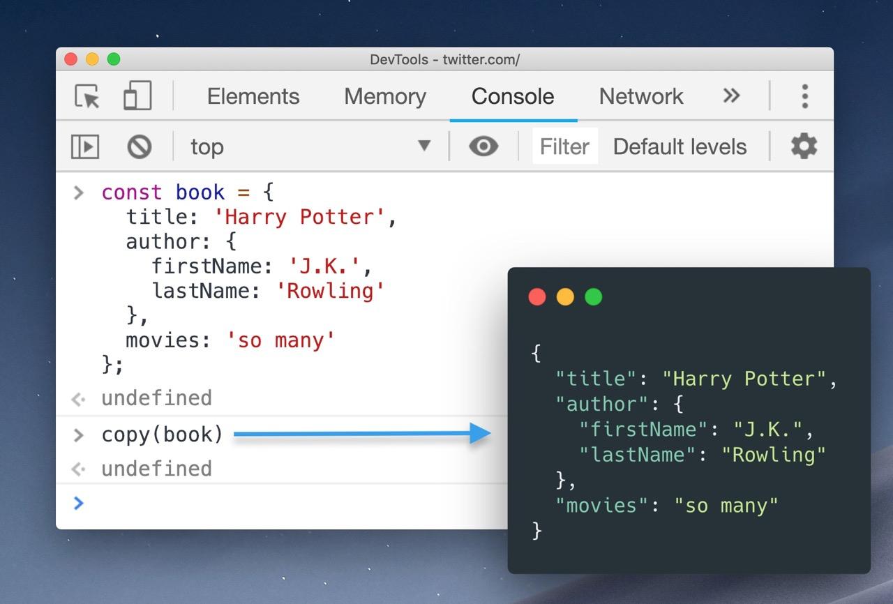 Вы знали, что в Chrome Dev Tools можно копировать объекты в буфер обмена?