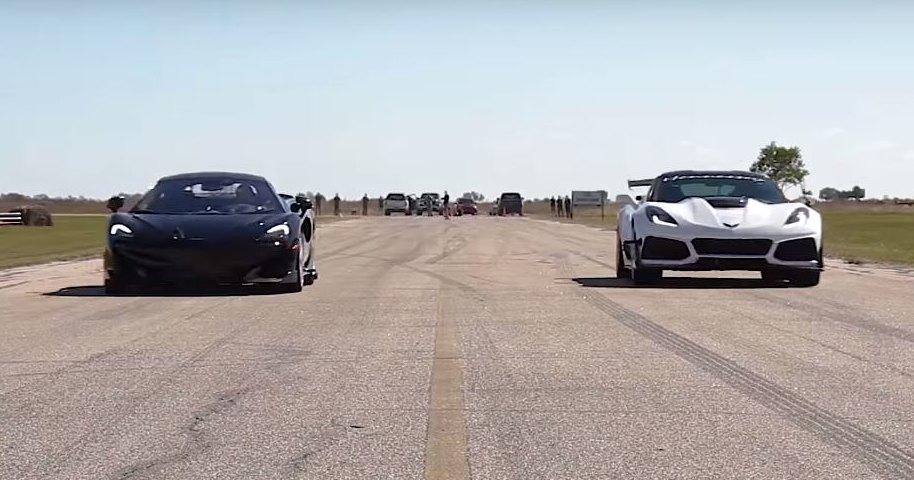 Corvette ZR1 и McLaren 600LT сравнили в дрэг-гонке