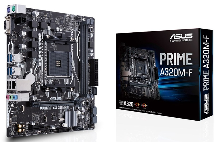Плата ASUS Prime A320M-F позволяет создать компактный ПК на процессоре AMD