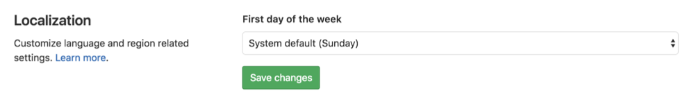Specify the first day of the week