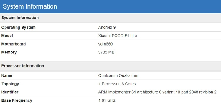 Смартфон Xiaomi Pocophone F1 Lite показался в бенчмарке