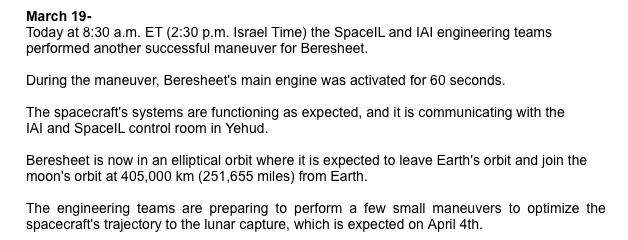 Лунная миссия «Берешит» — четвертый маневр завершен успешно, идет подготовка к выходу на Лунную орбиту - 6