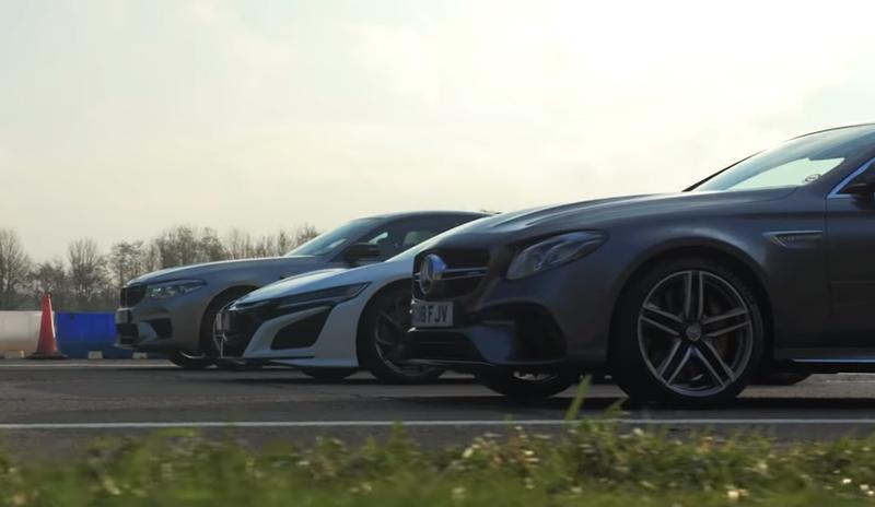 Honda NSX против BMW M5 Competition и Mercedes-AMG E 63 S: дрэг-гонка