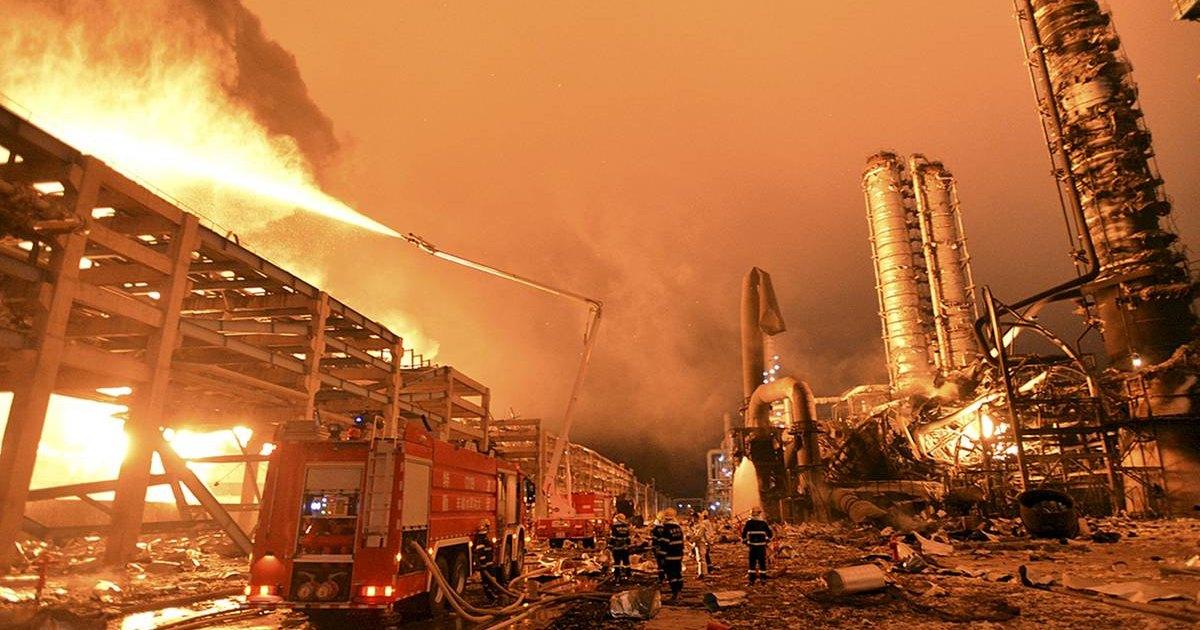 Появилось видео взрыва на китайском химическом заводе