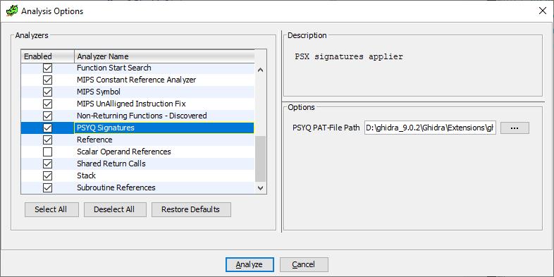 GHIDRA, исполняемые файлы Playstation 1, FLIRT-сигнатуры и PsyQ - 6