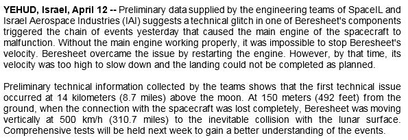 Лунная миссия «Берешит» — разбор аварии, анонсирование запуска разработки аппарата «Берешит 2.0» - 29