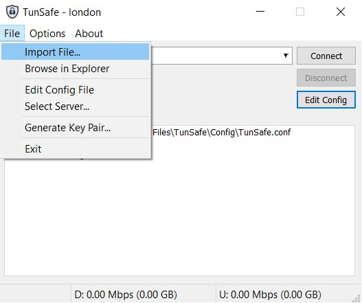 Импорт файла конфигурации в TunSafe