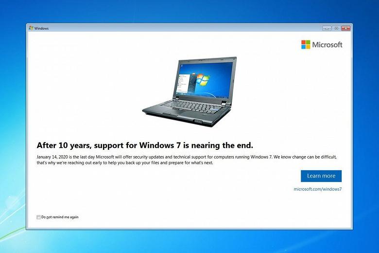 Время пришло. Microsoft начала извещать пользователей о скорой смерти Windows 7