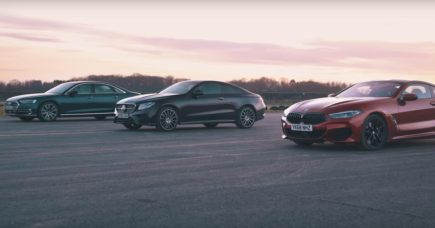 BMW 840d против Mercedes E400d и Audi A8 50 TDI: дрэг-гонка