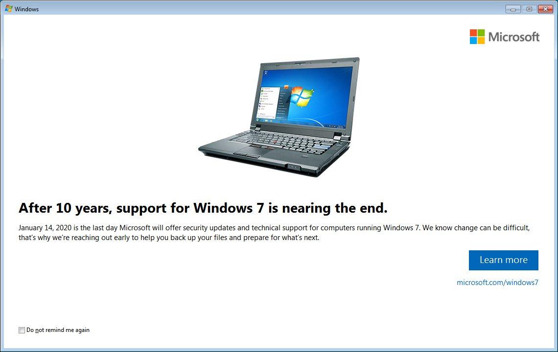 Windows 7 начала показывать предупреждения об окончании срока поддержки - 1