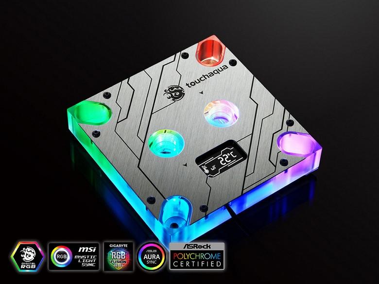 Процессорный водоблок Bitspower Summit MS OLED оснащен индикатором температуры