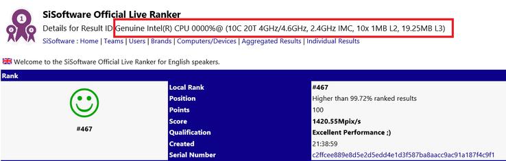 В базе данных SiSoftware замечен 10-ядерный процессор Intel Cascade Lake-X (платформа HEDT Glacier Falls)