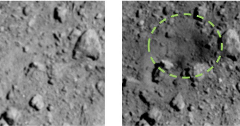 «Хаябуса-2» показала искусственный кратер на Рюгу