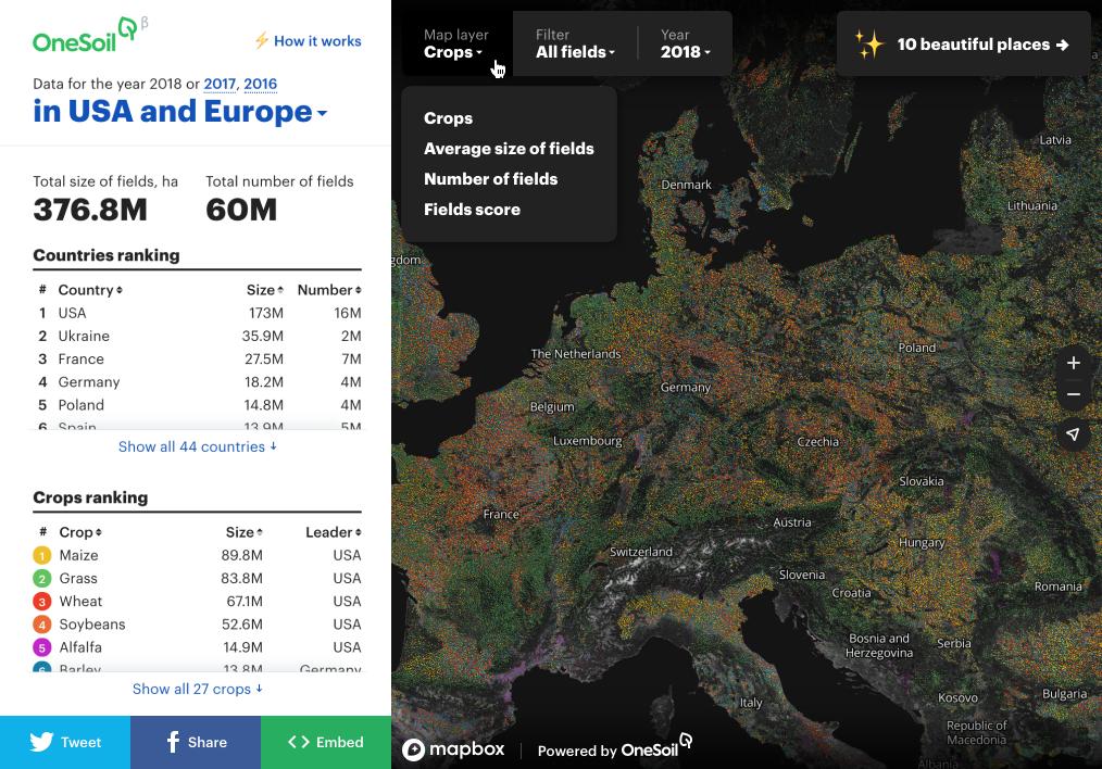 60 миллионов полей и 27 культур. Как мы делали карту всех полей Европы и США - 1