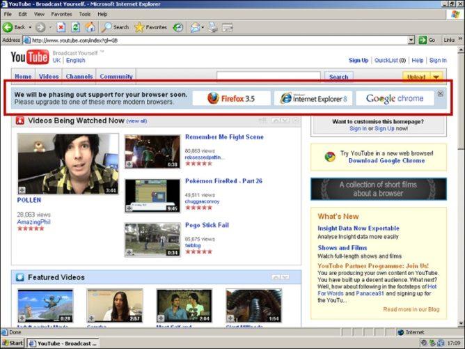 Разработчики YouTube в 2009 году убрали Internet Explorer 6 с рынка браузеров - 1