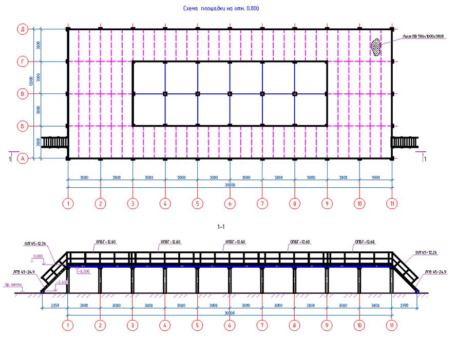 Построение металлической площадки на свайном фундаменте в СПДС Металлоконструкции - 1