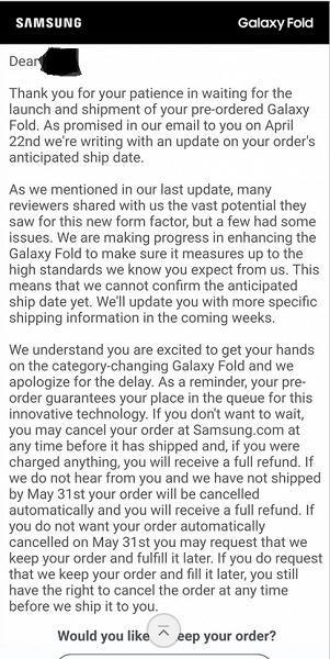 Инновации задерживаются. Samsung предупреждает об автоматической отмене предзаказов на складной Galaxy Fold