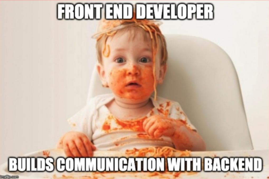 Молодой фронт-энд разработчик пишет интеграцию с бэк-эндом