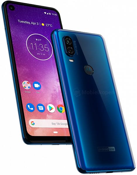 Смартфон Motorola One Vision с врезанной фронтальной и основной 48-мегапиксельной камерой позирует на новых рендерах